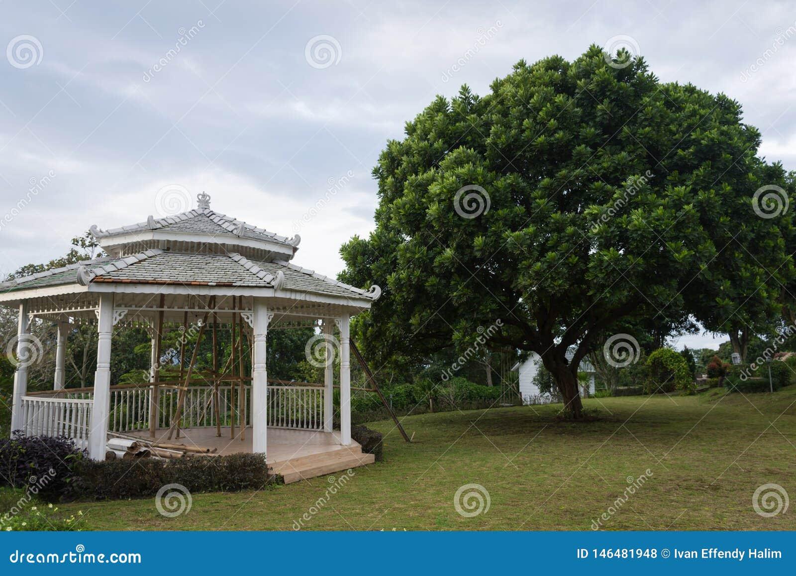 In aanbouw gazebo op de mooie tuin Binnenplaatsmeningen van Bandungan-Heuvelshotel en Toevlucht op Semarang, Indonesi?