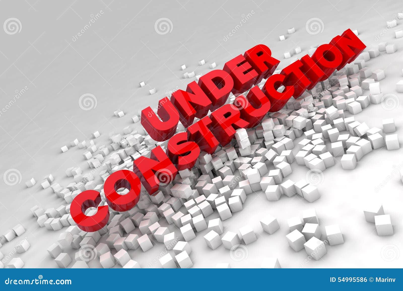 In aanbouw teken met blokken van kubussen
