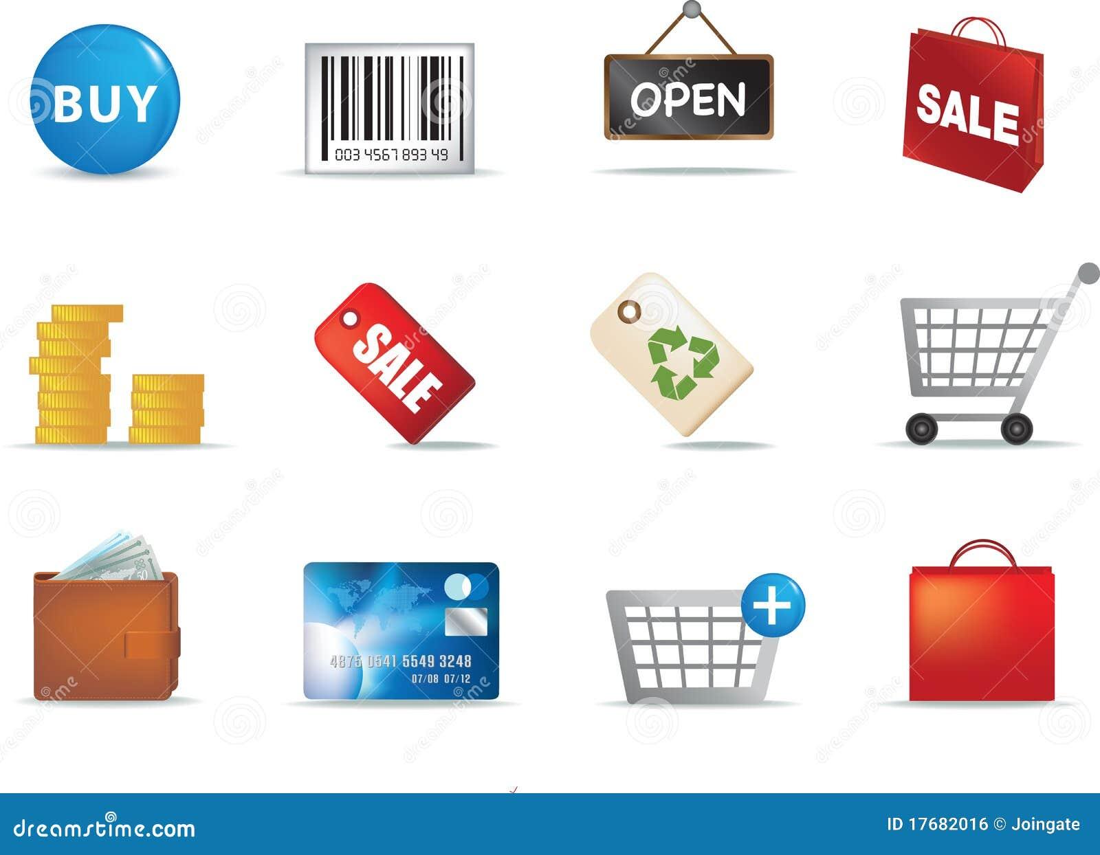 Aand ikony handel detaliczny ustalony zakupy