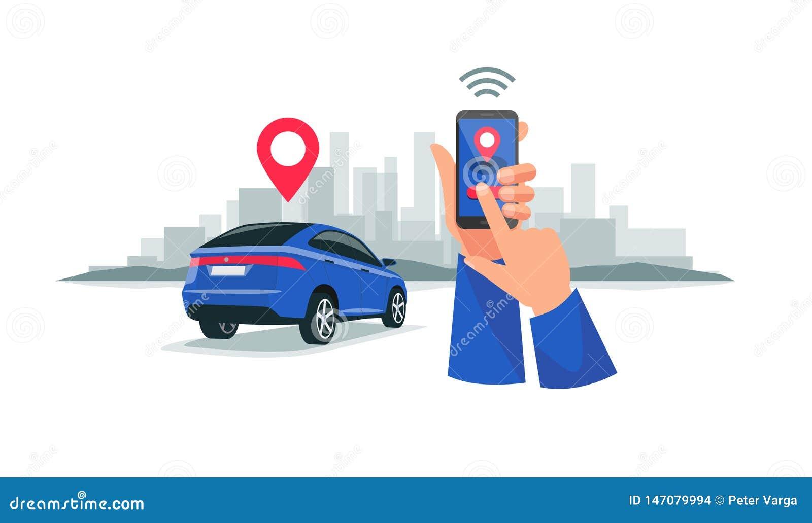 Aangesloten Auto die de Dienst Met afstandsbediening via Smartphone App delen