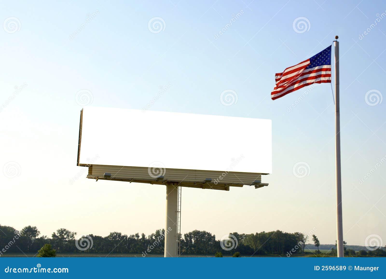 Aanplakbord en Amerikaanse Vlag