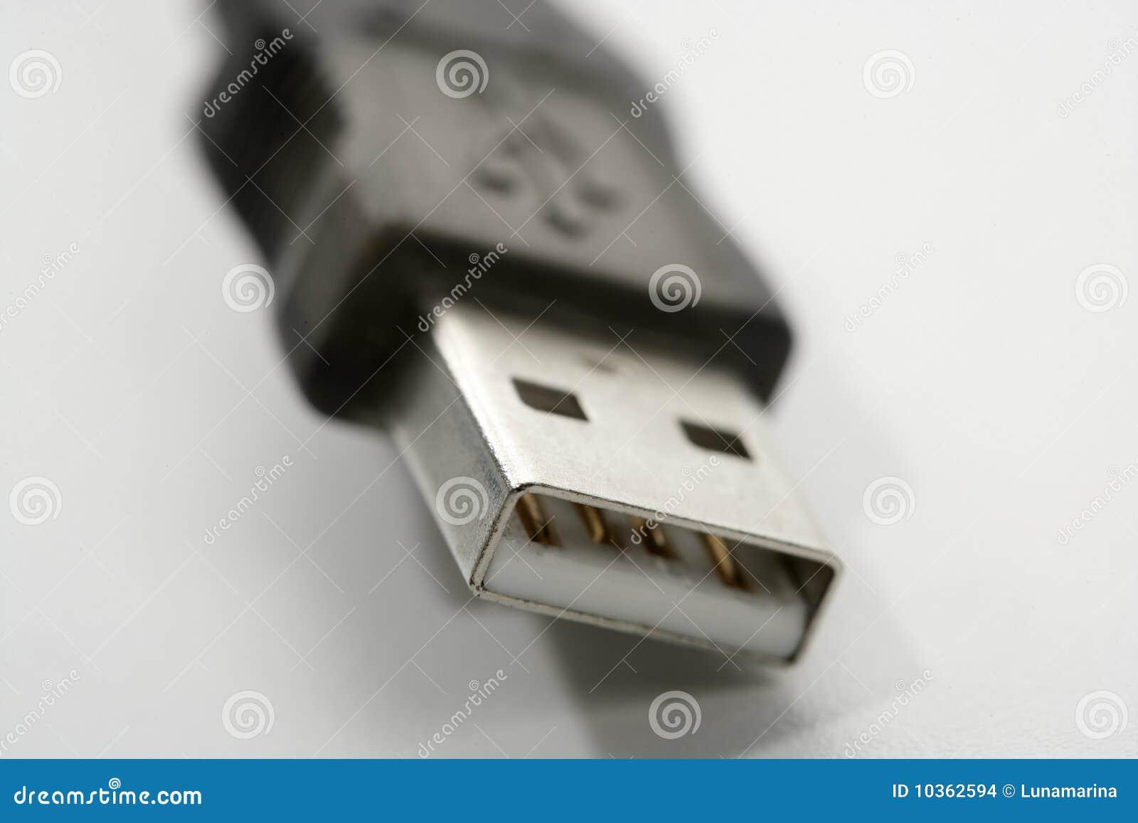 Aansluting USB macroclose-up over wit