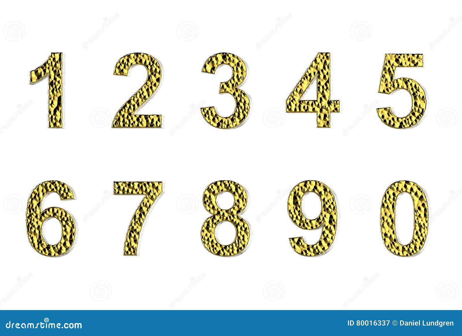 Aantallen in gouden deklaag die op een witte achtergrond wordt geïsoleerd