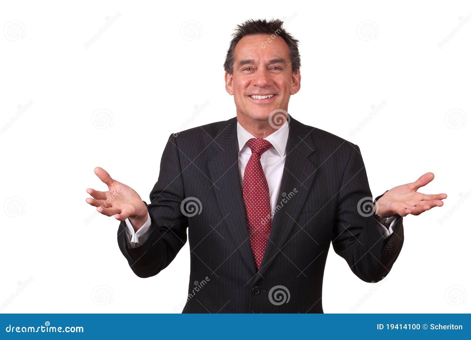 Aantrekkelijke Glimlachende Mens in Kostuum met Open Handen