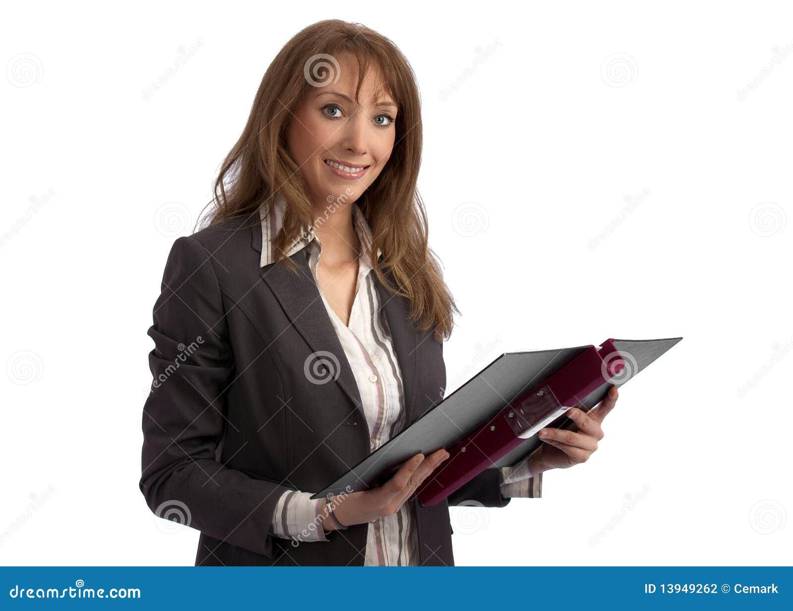 Aantrekkelijke leraar/onderneemster met bindmiddel