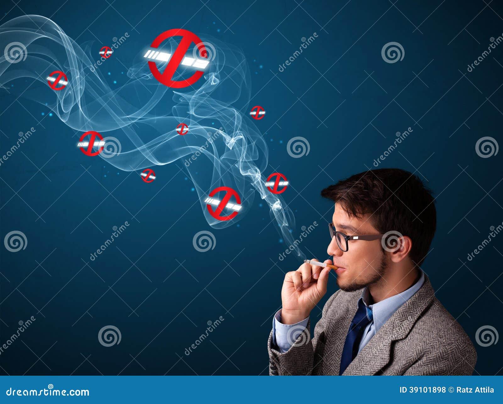 Aantrekkelijke mens die gevaarlijke sigaret roken