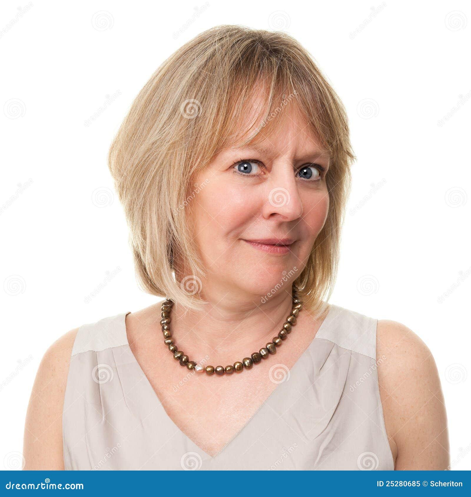 Aantrekkelijke Vrouw met In verwarring gebrachte Ongerust gemaakte Uitdrukking