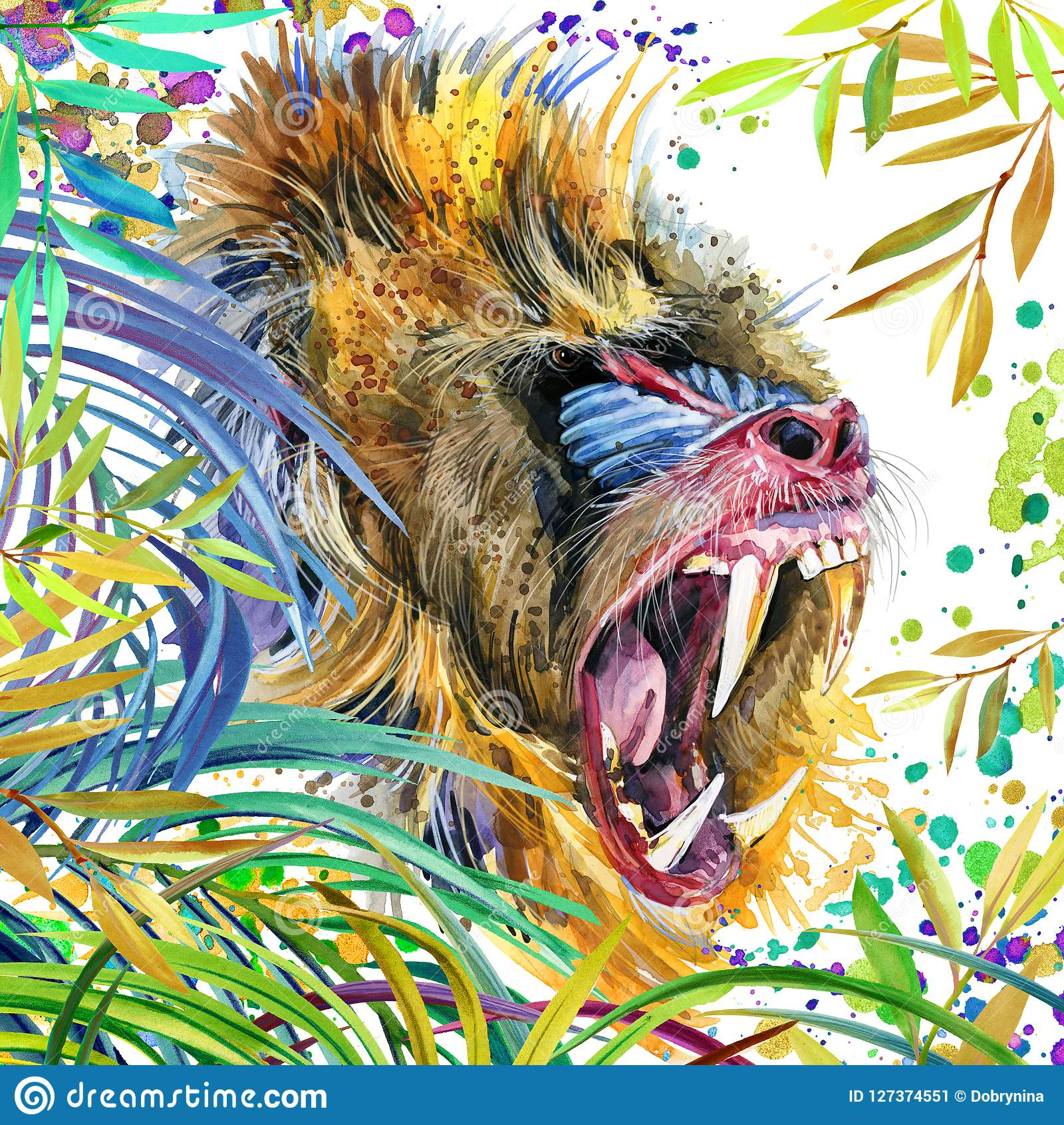 Aap in de tropische de aardillustratie van de regenwoudwaterverf wildlife