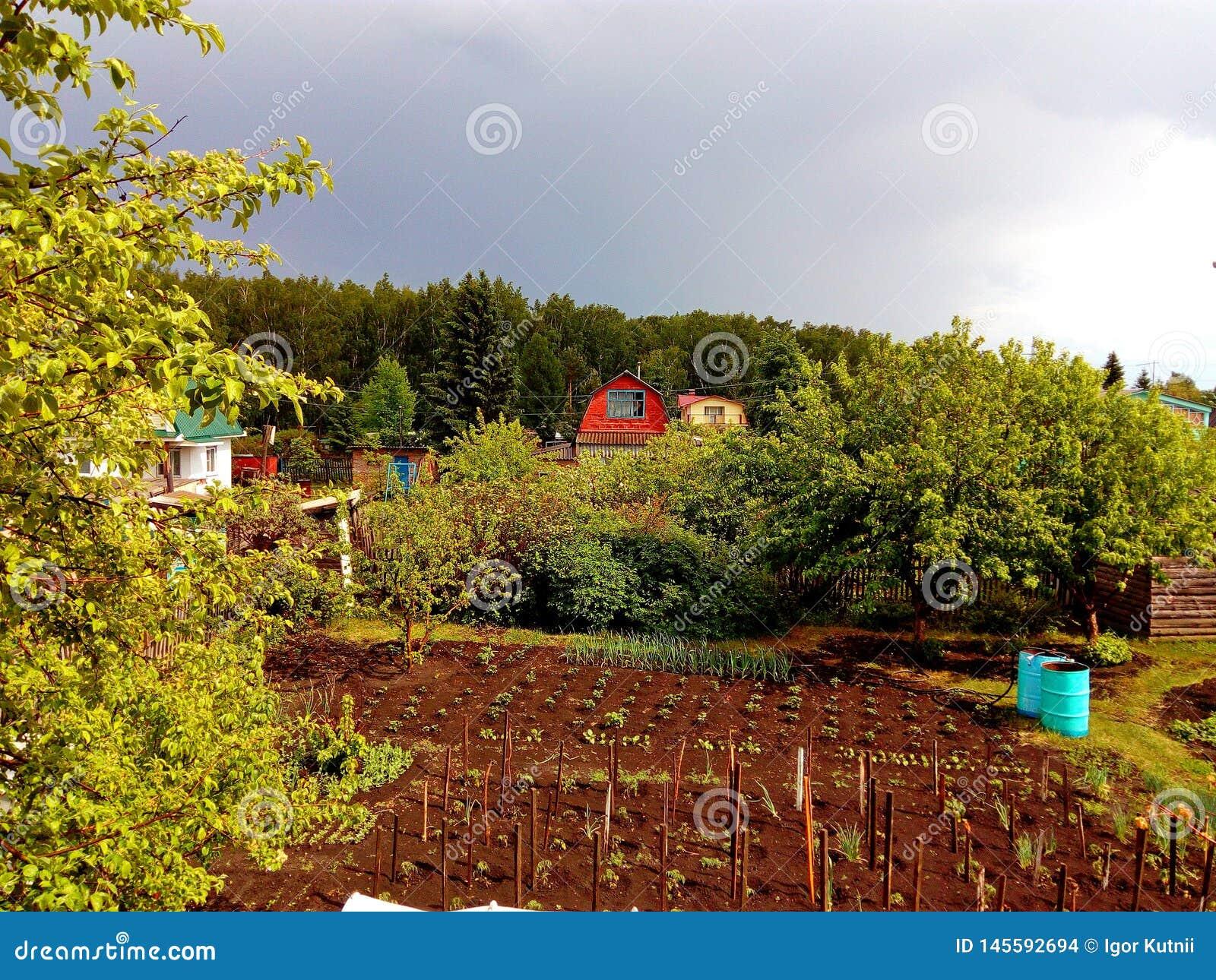 Aard rond een plattelandshuisje van het land vóór een onweersbui