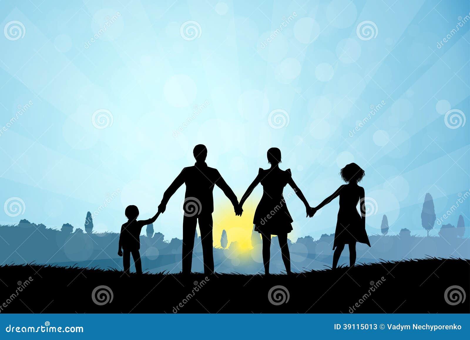 Aardachtergrond met Familiesilhouet