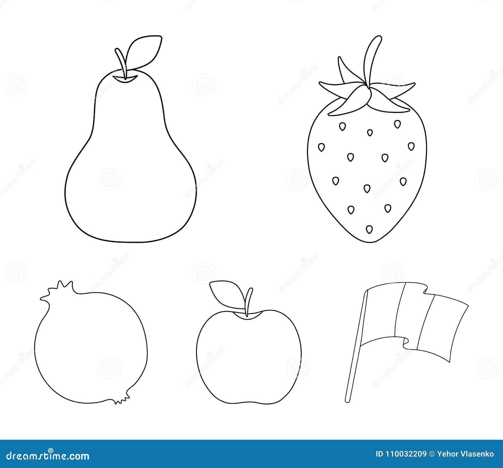 Aardbei, peer, appel, granaatappel Vruchten geplaatst inzamelingspictogrammen in van de het symboolvoorraad van de overzichtsstij