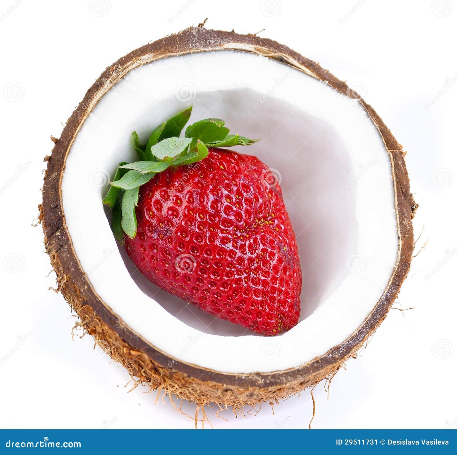 Aardbeien en kokosnoot