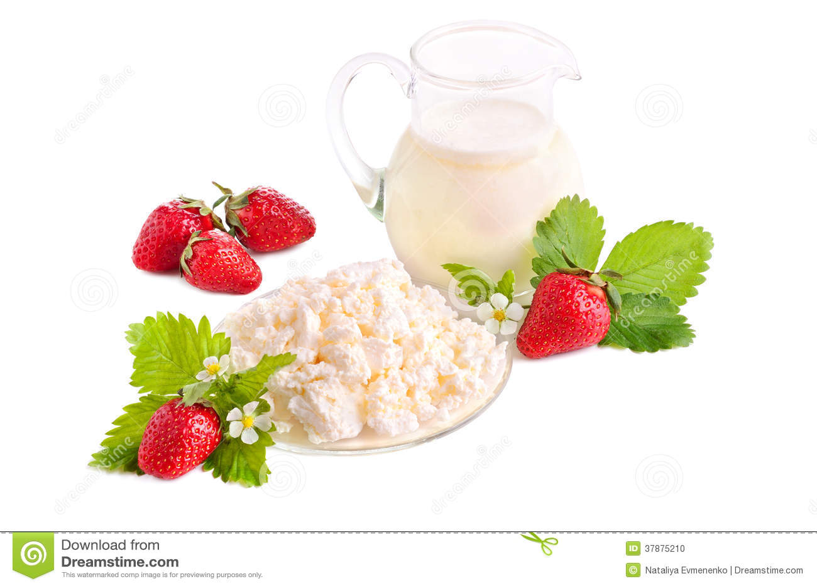 Aardbeien, melk en kwark