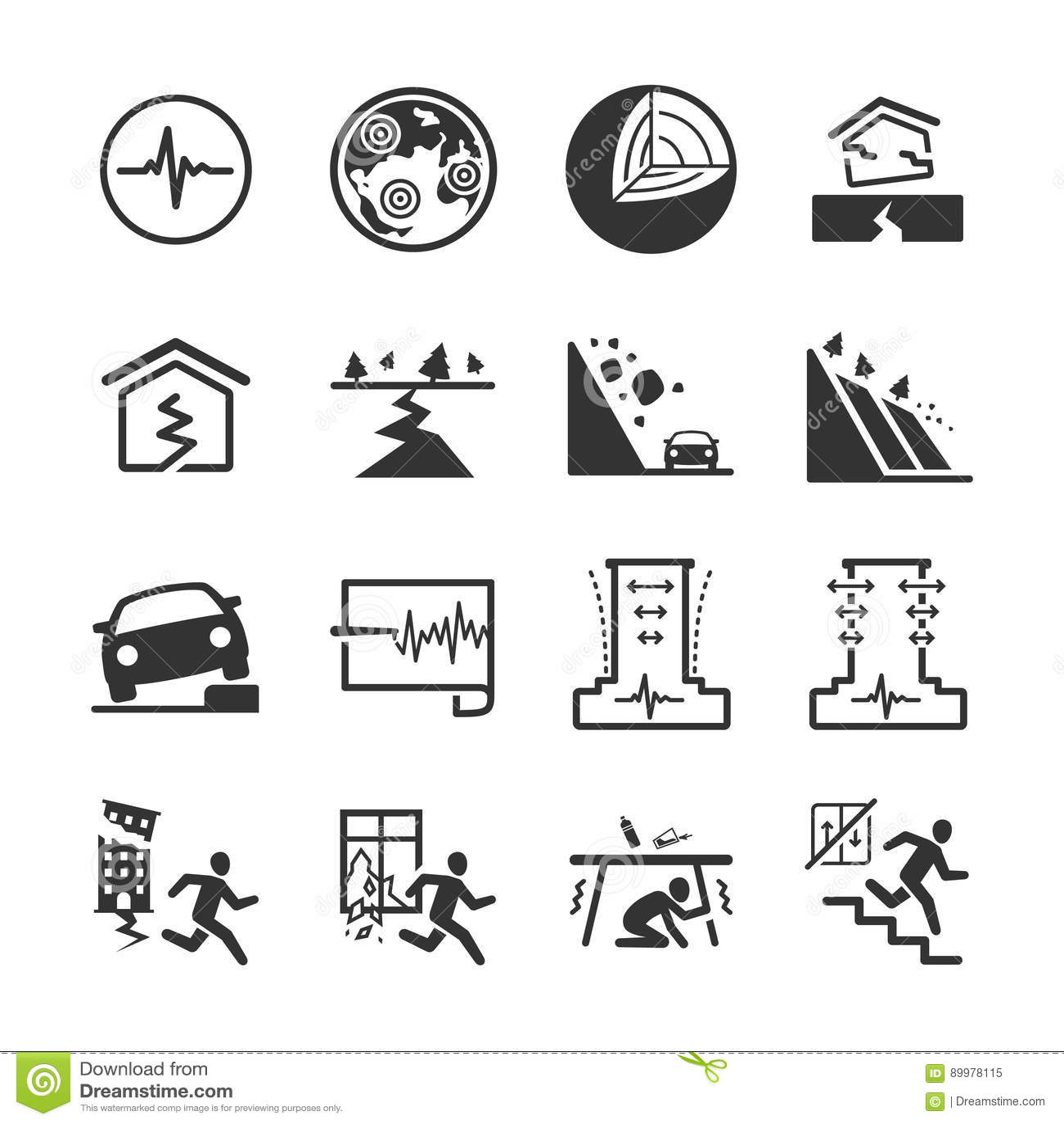 Aardbeving en de geologie de pictogrammen plaatsen 2