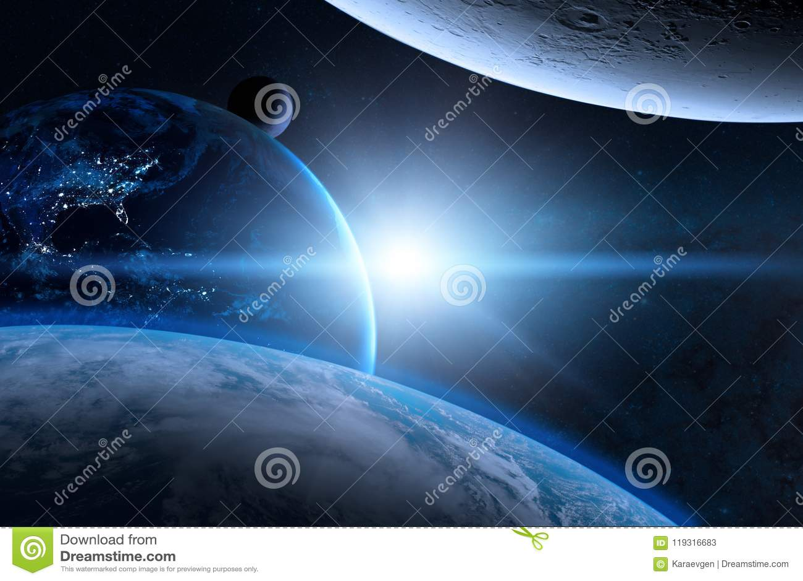 Aarde in de kosmische ruimte met mooie planeet Blauwe zonsopgang