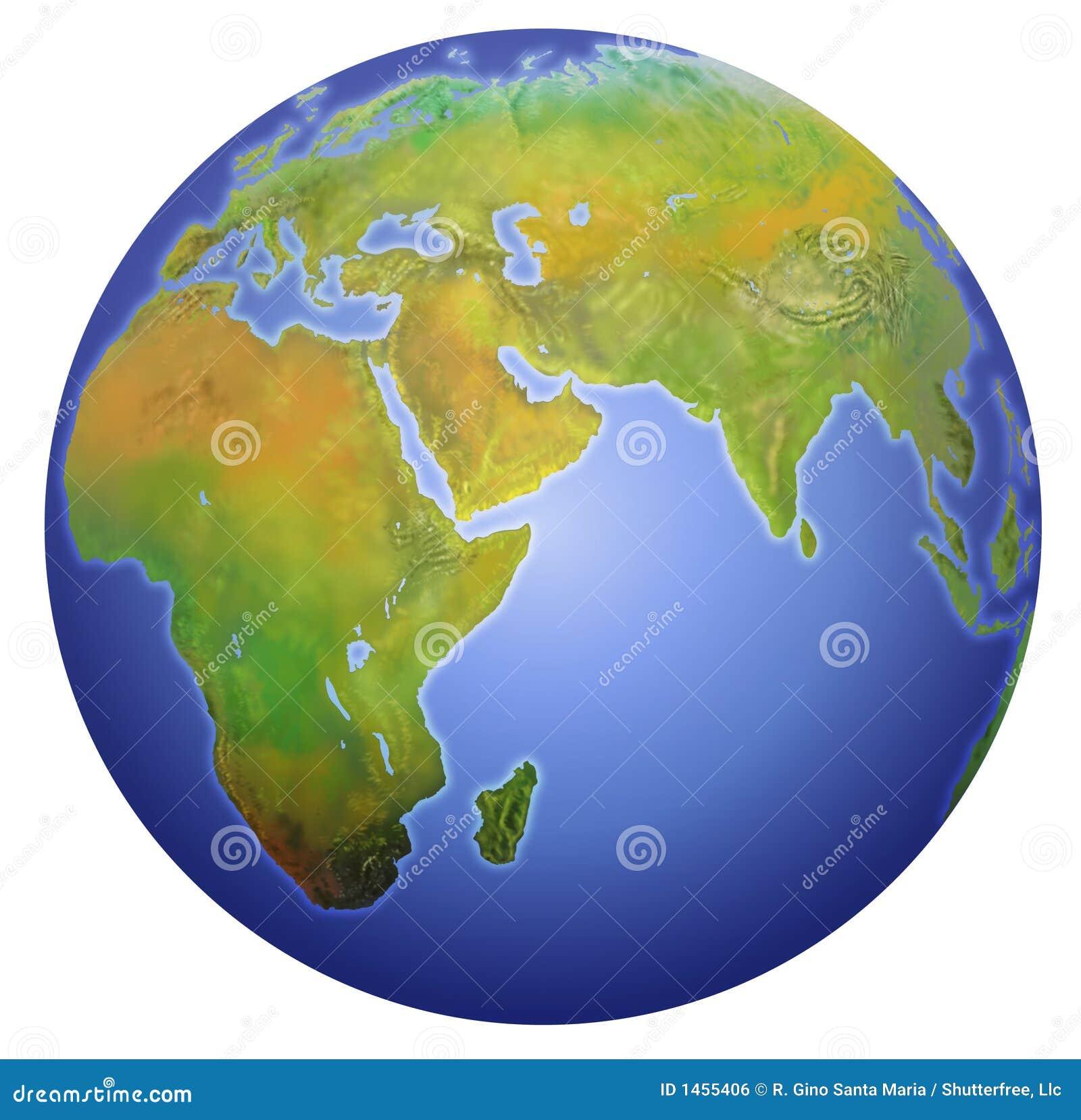 Aarde die Europa, Azië, en Afrika toont.