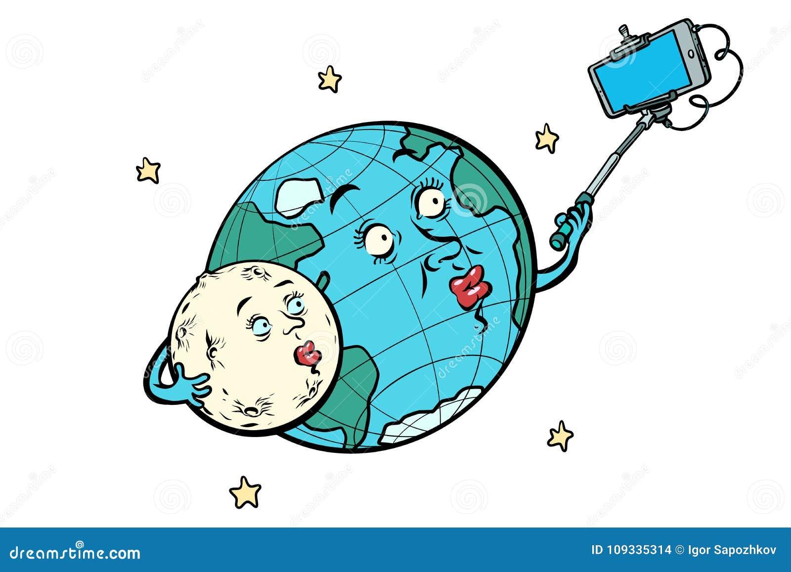 Aarde en Maanpaar die selfie nemen Geïsoleerd op witte bedelaars