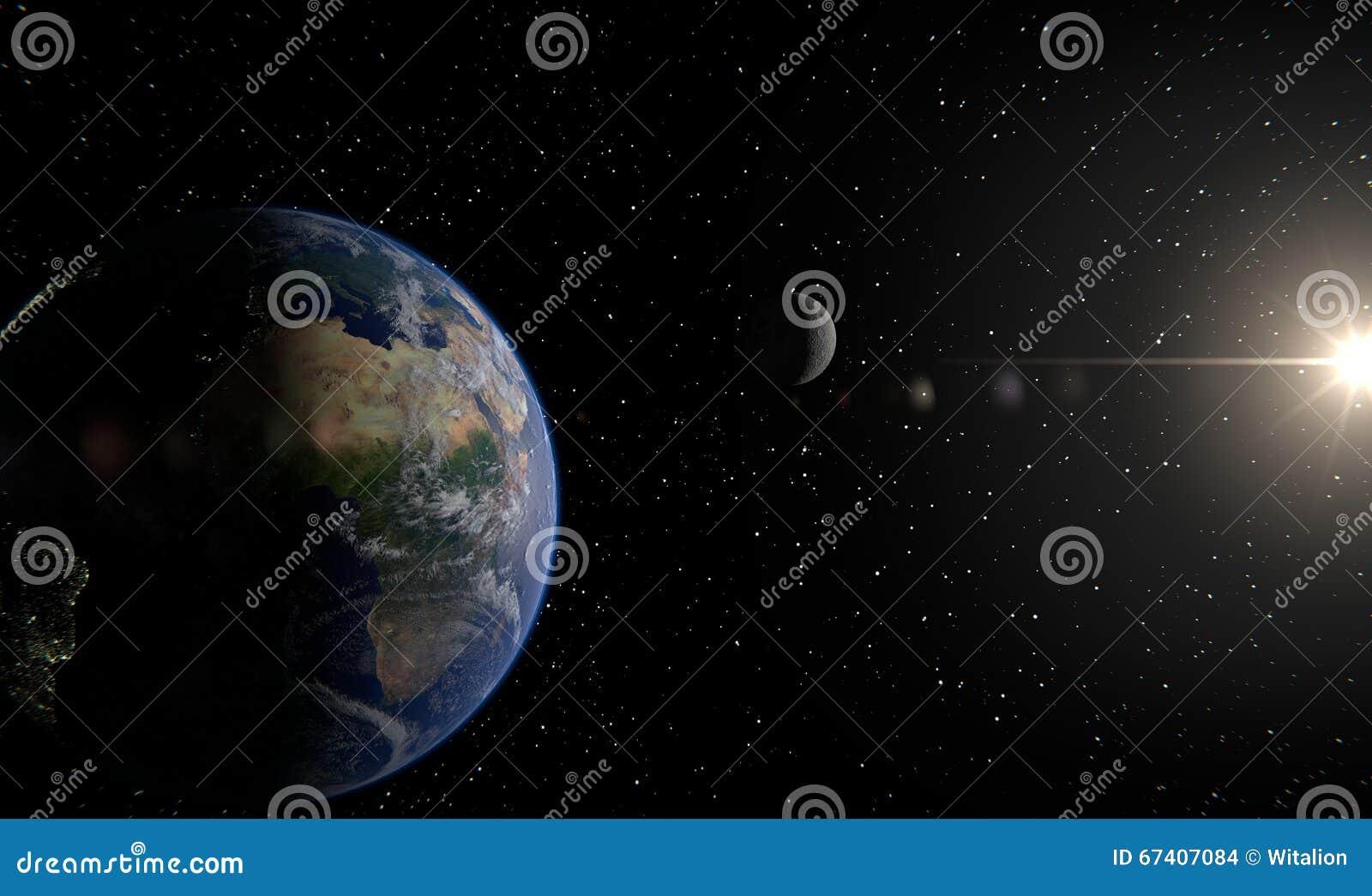 Aarde, maan en zon