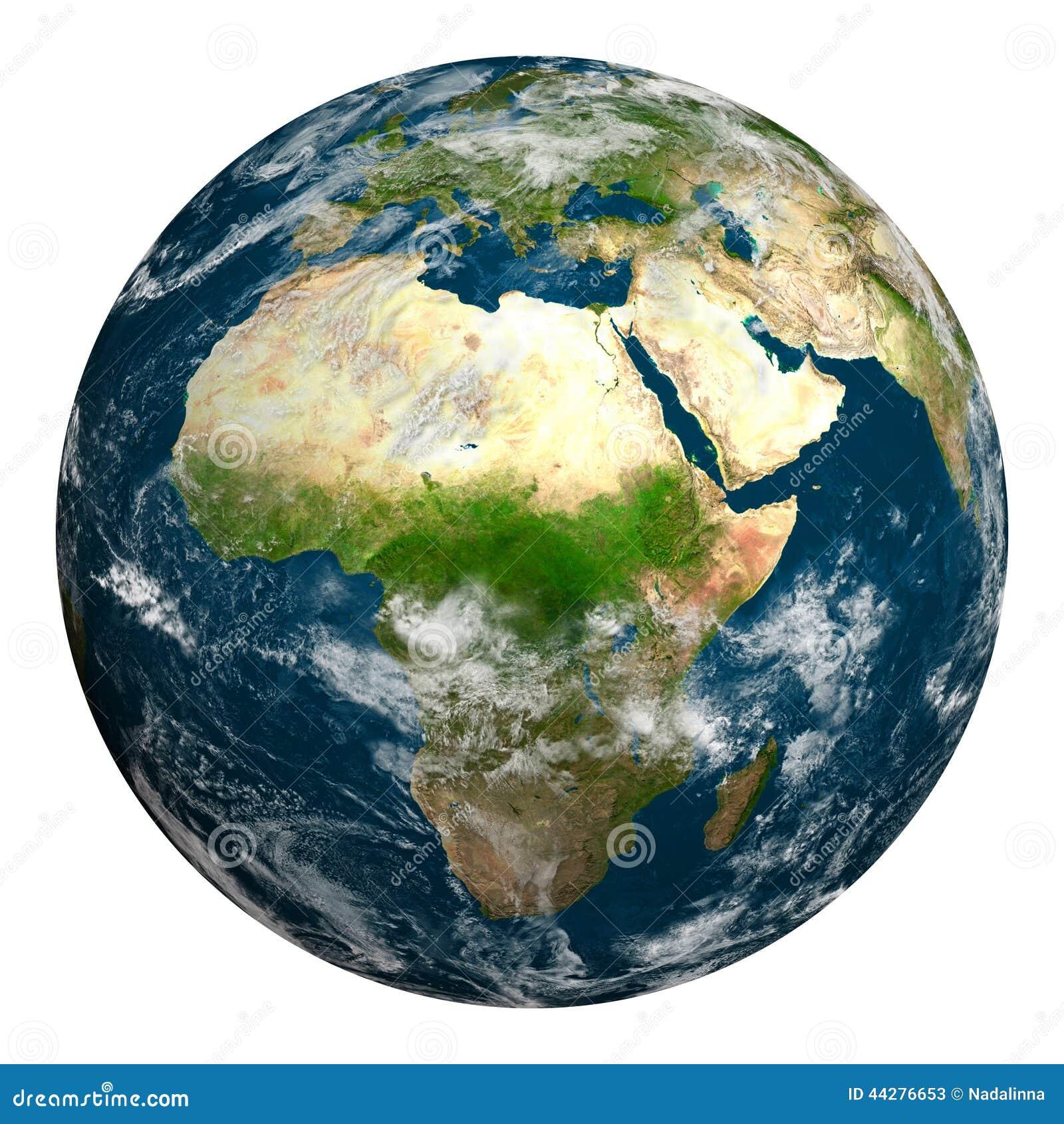 Aarde met wolken Afrika, een deel van Europa en Azië
