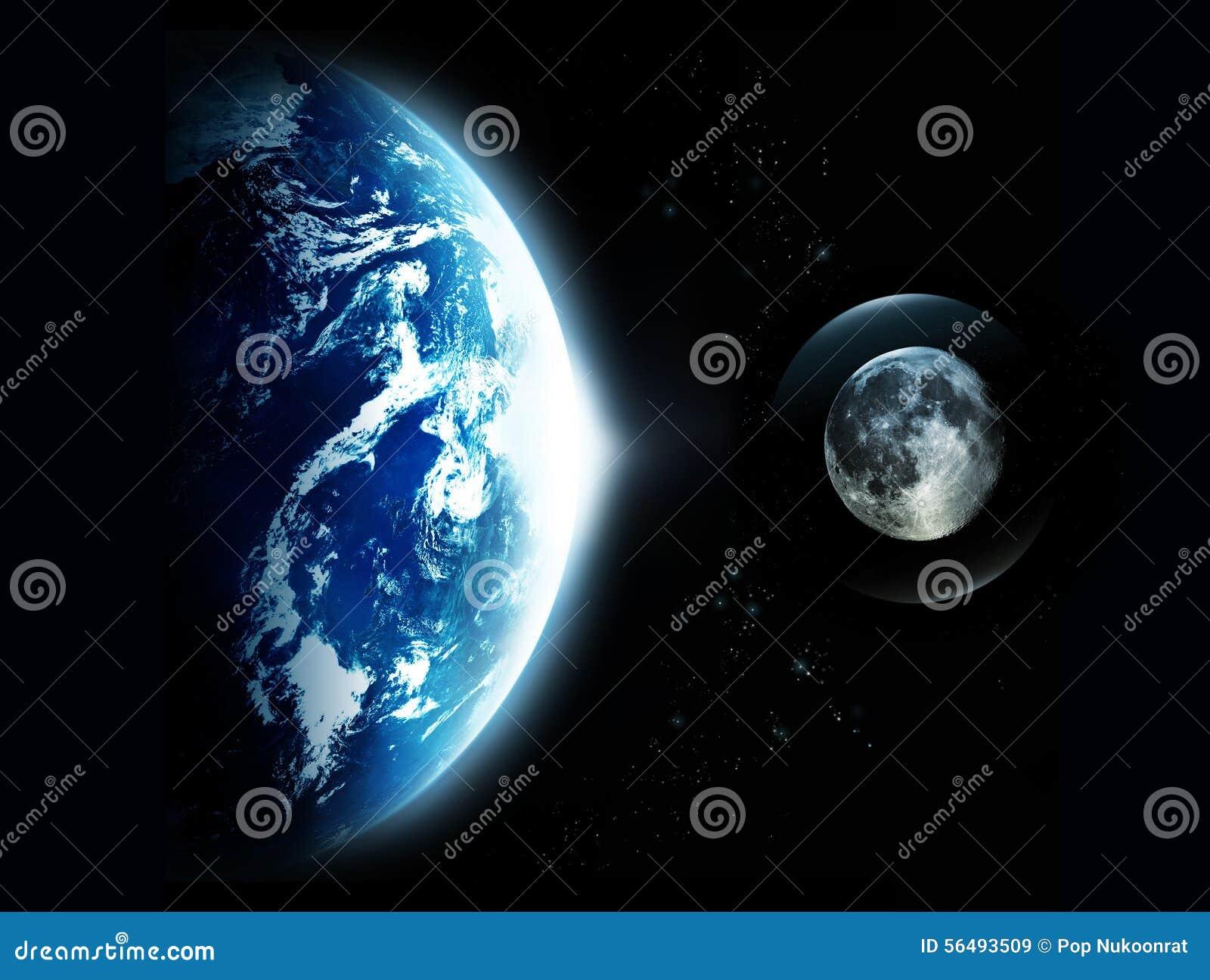 aarde met zon het toenemen en de maan ruimte originele