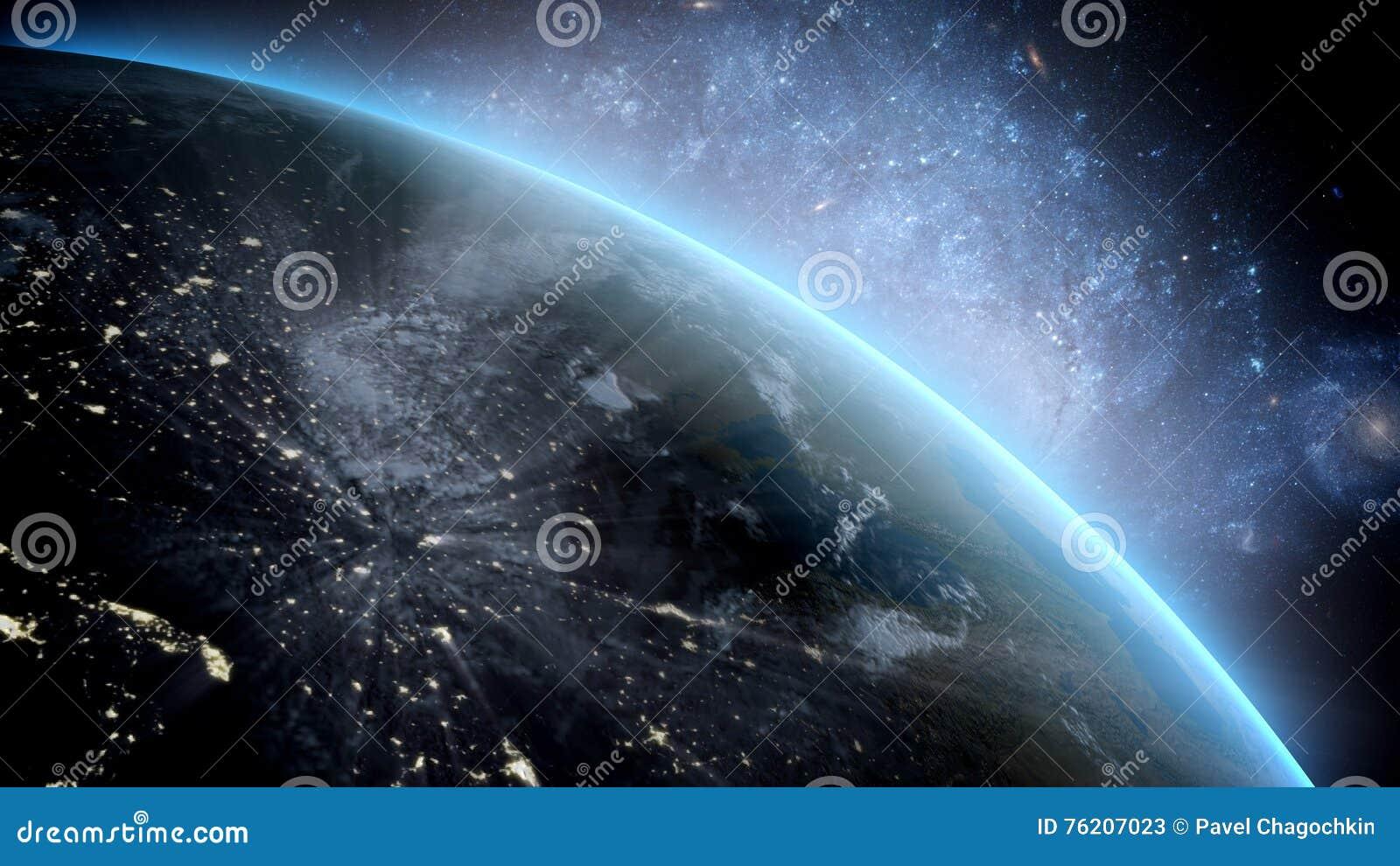 Aarde zoals die van ruimte wordt gezien Met sterrenachtergrond het 3d teruggeven