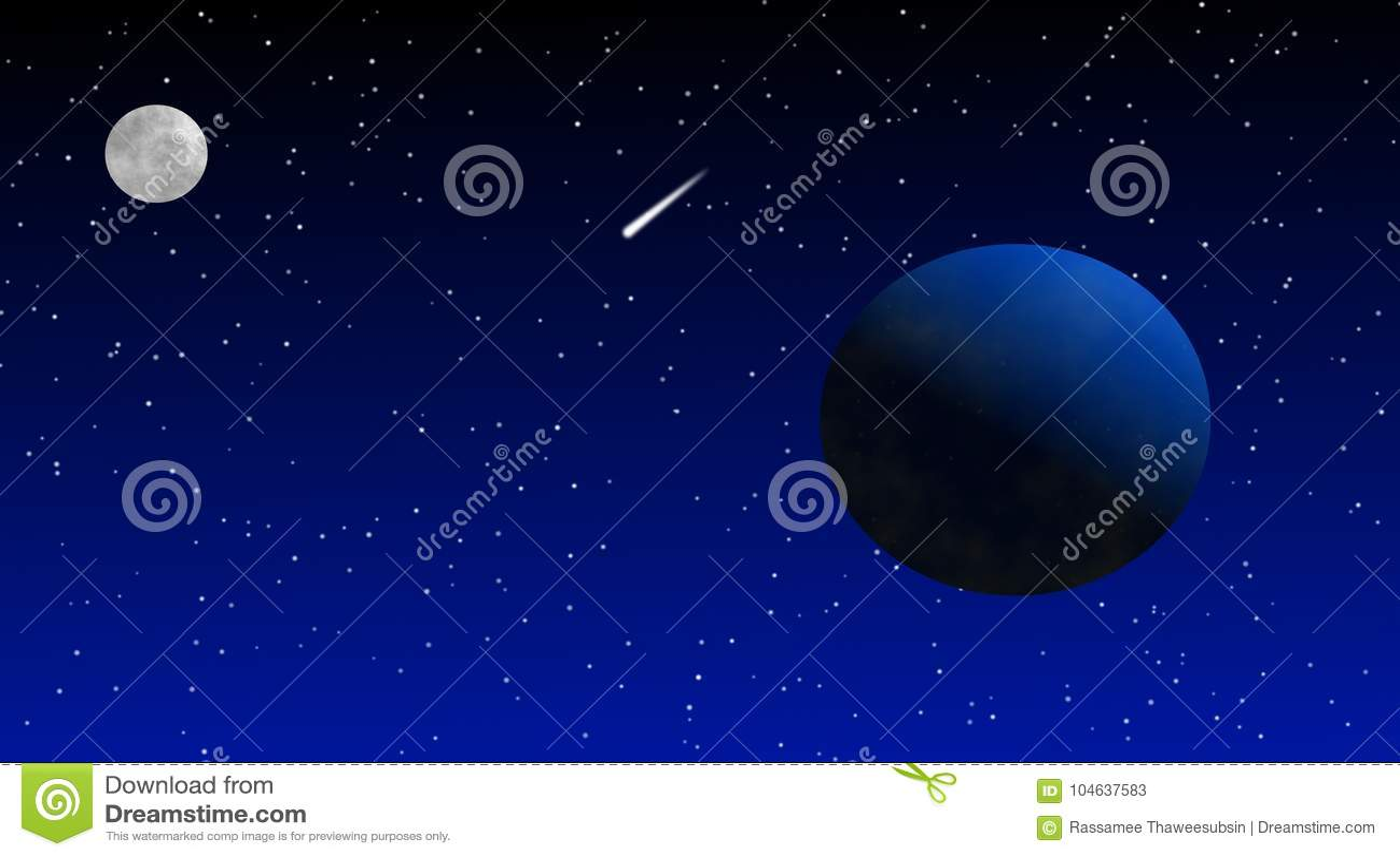 Download Aardemaan En Komeet In Ruimte Stock Illustratie - Illustratie bestaande uit thema, details: 104637583