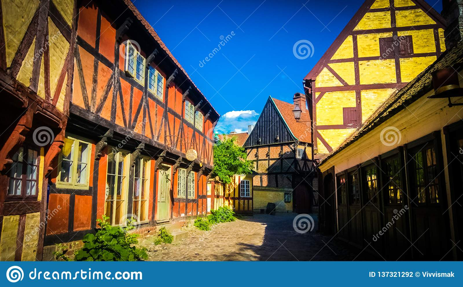 Traditional Danish houses at Den Gamle By in Aarhus, Denmark