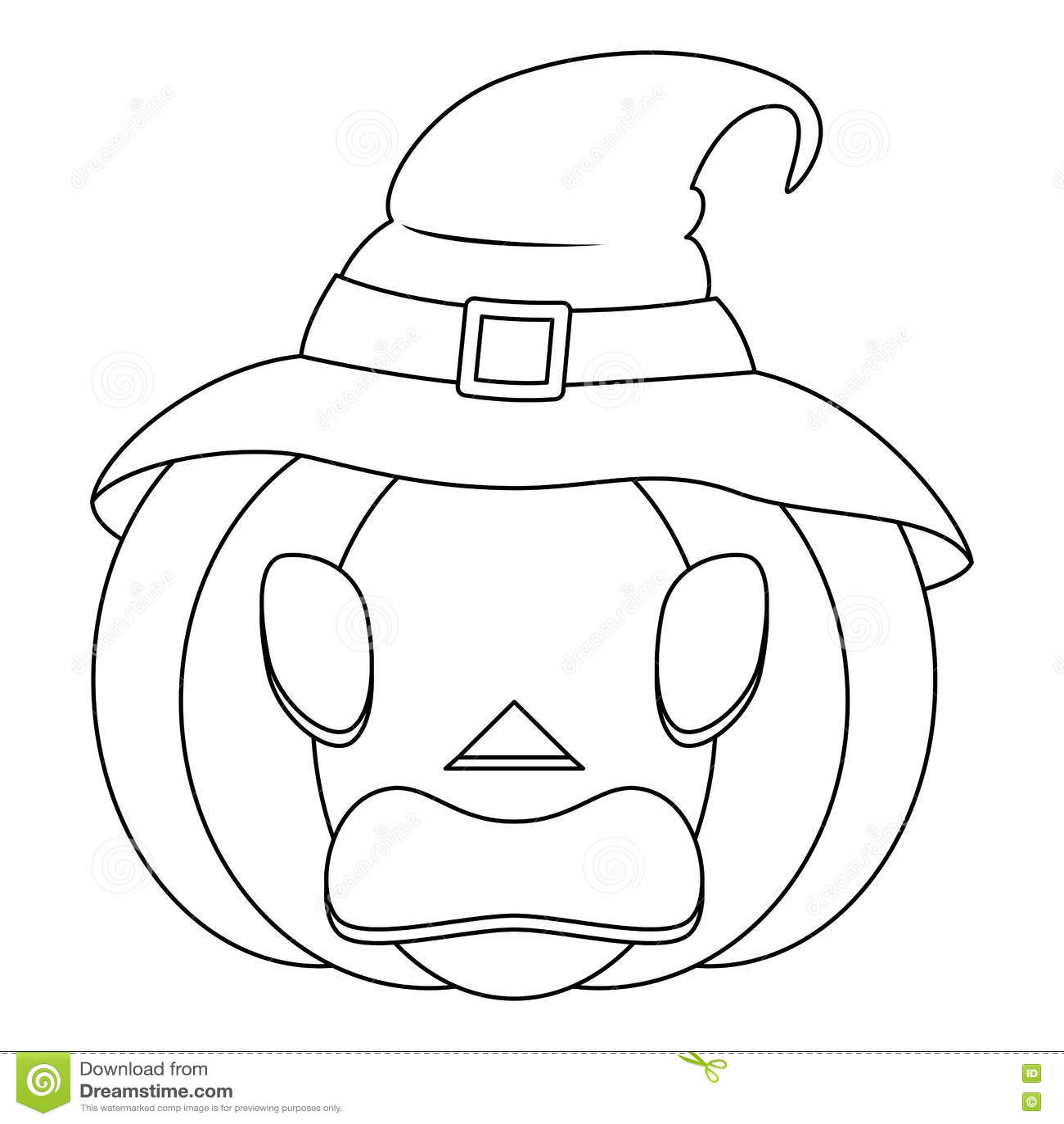 abóbora assustador de dia das bruxas da coloração com chapéu