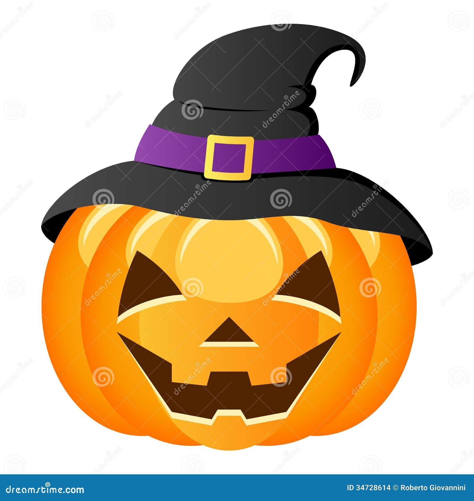 Abóbora de Dia das Bruxas com chapéu da bruxa