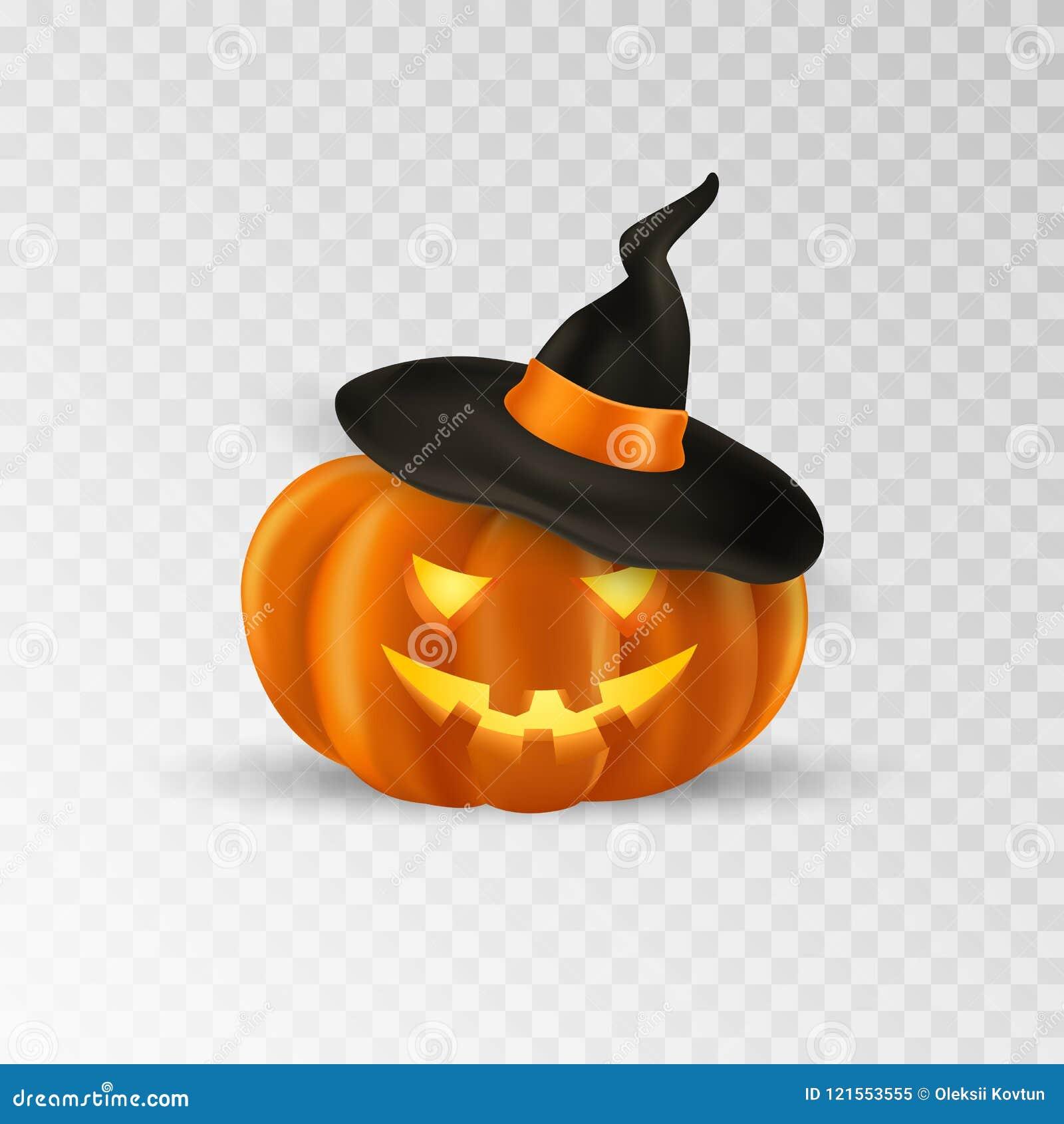 abóbora de halloween com chapéu da bruxa Ícone assustador da abóbora