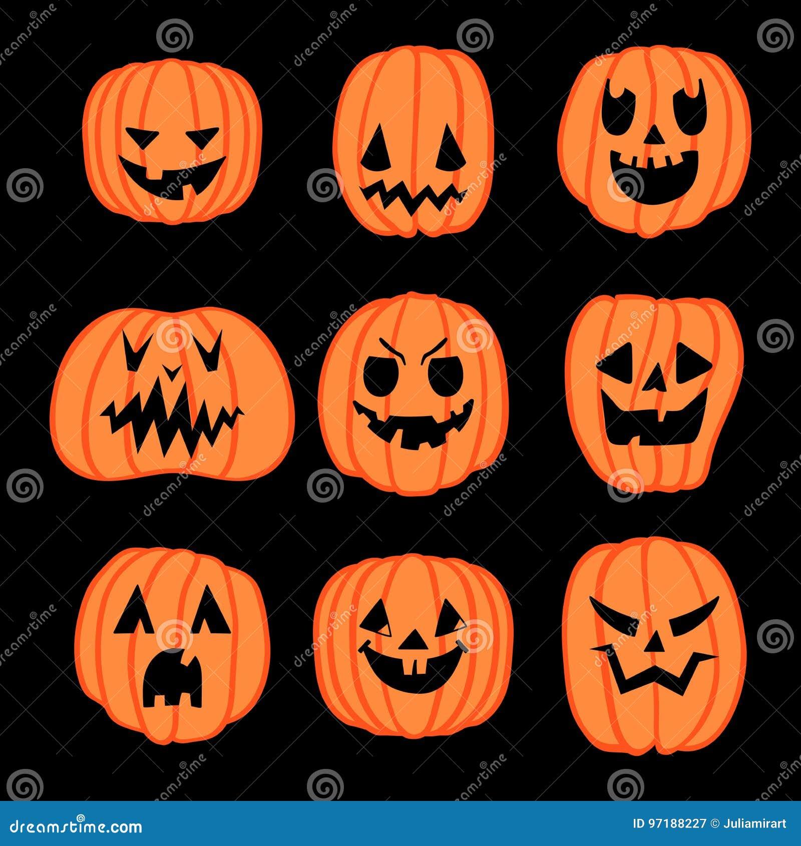 Aboboras De Halloween Ajustadas Ilustracao Do Vetor Ilustracao De Halloween Aboboras 97188227
