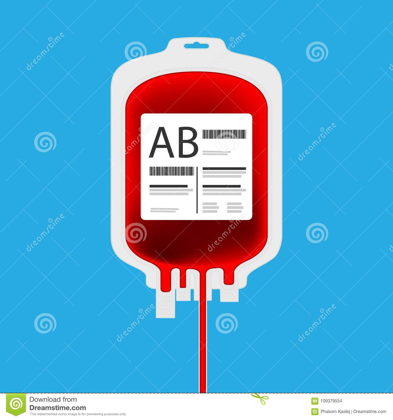 AB Plastic Blood Bag Isolated With Full Of Inside