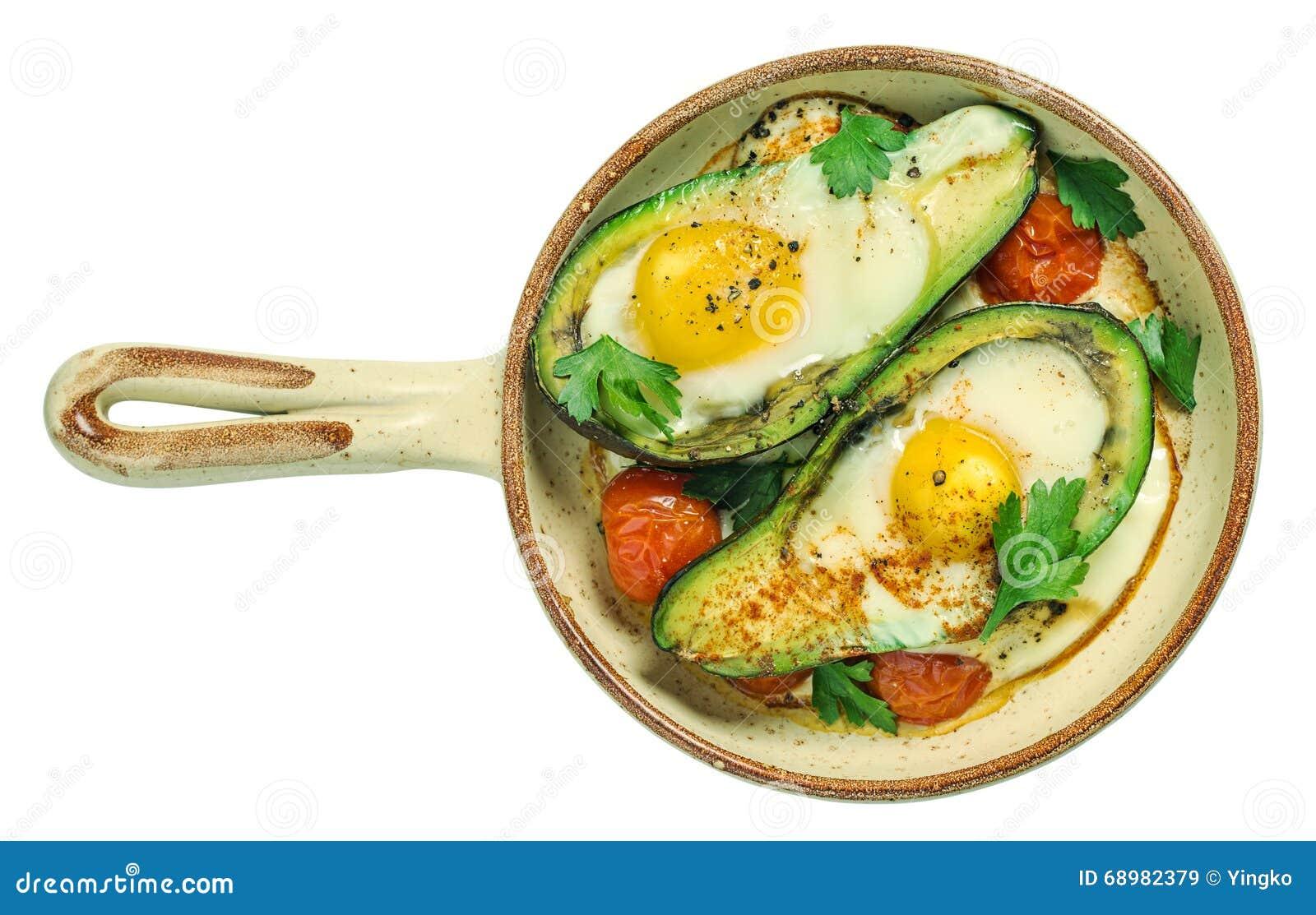 Abacate cozido com ovo