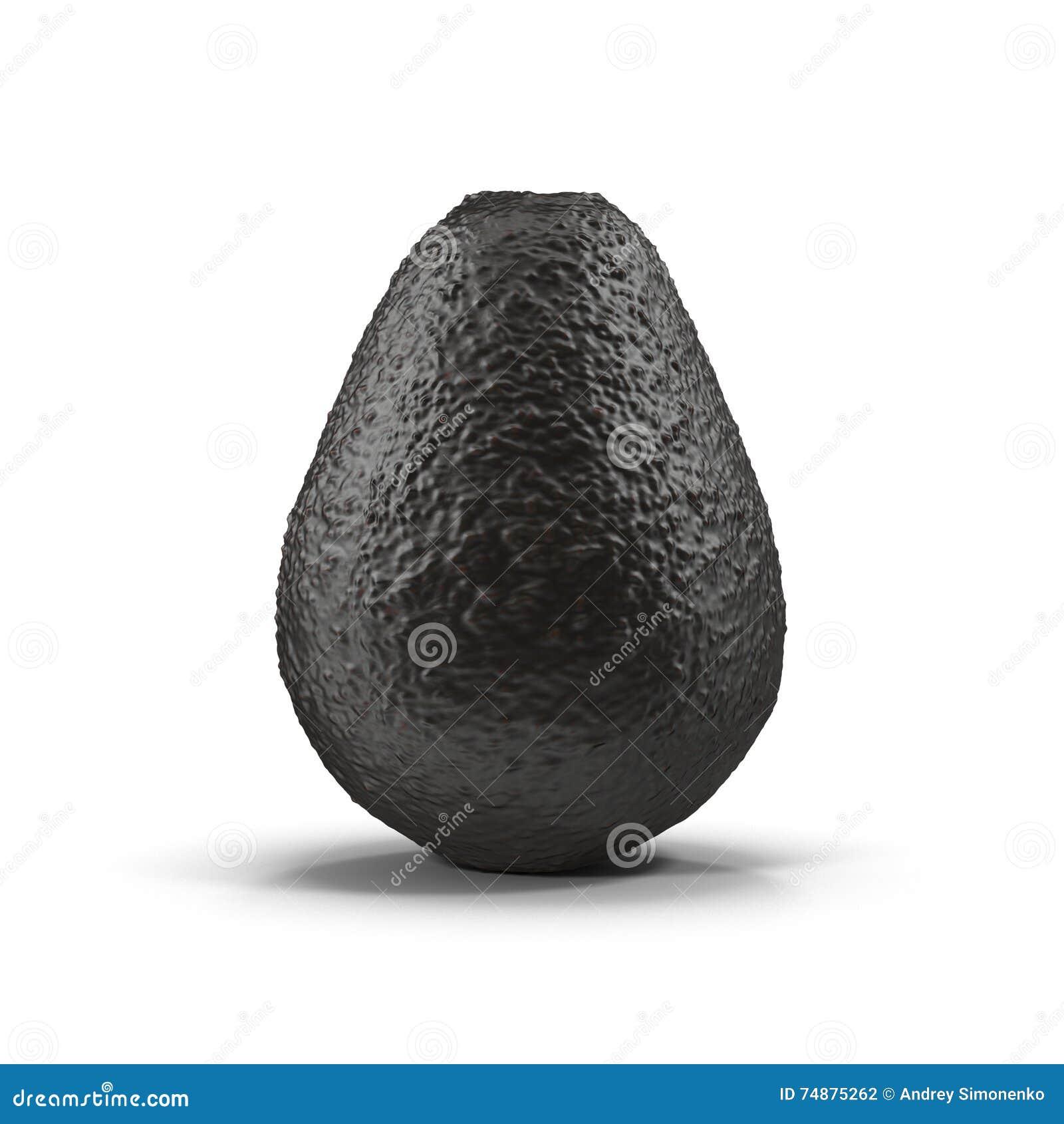 Abacate preto maduro em uma ilustração branca do fundo 3D