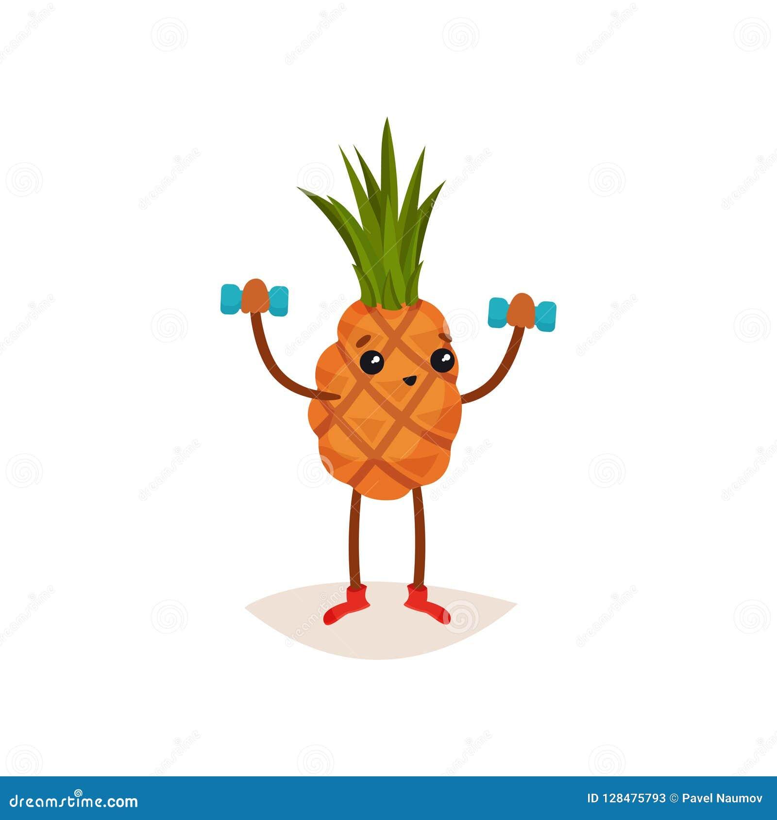 Abacaxi adorável que faz o exercício com pesos Fruto tropical engraçado Tema ativo e saudável do estilo de vida Vetor liso