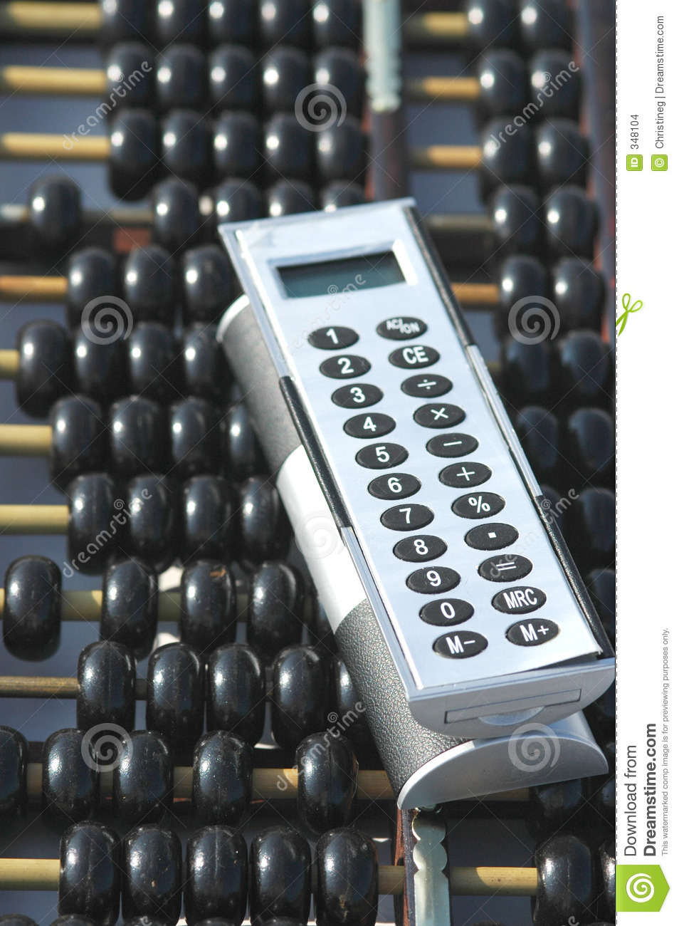 Abacus and calculator stock photo  Image of counting