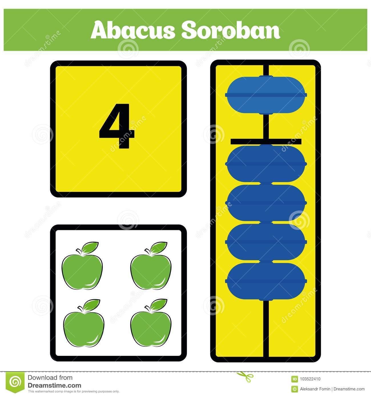 abacus soroban kids learn numbers with abacus math worksheet for children stock illustration. Black Bedroom Furniture Sets. Home Design Ideas