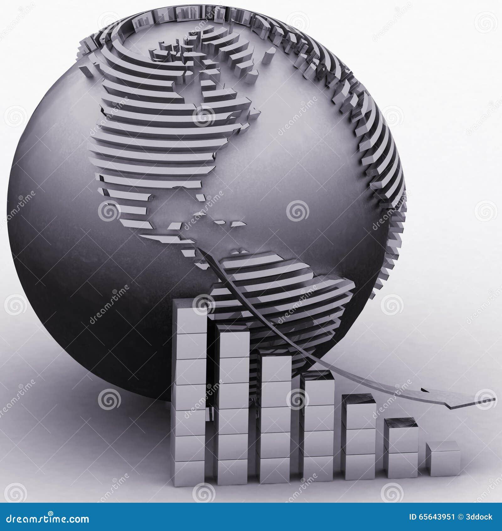 Abaissant le diagramme avec un indicateur sur un fond un globe