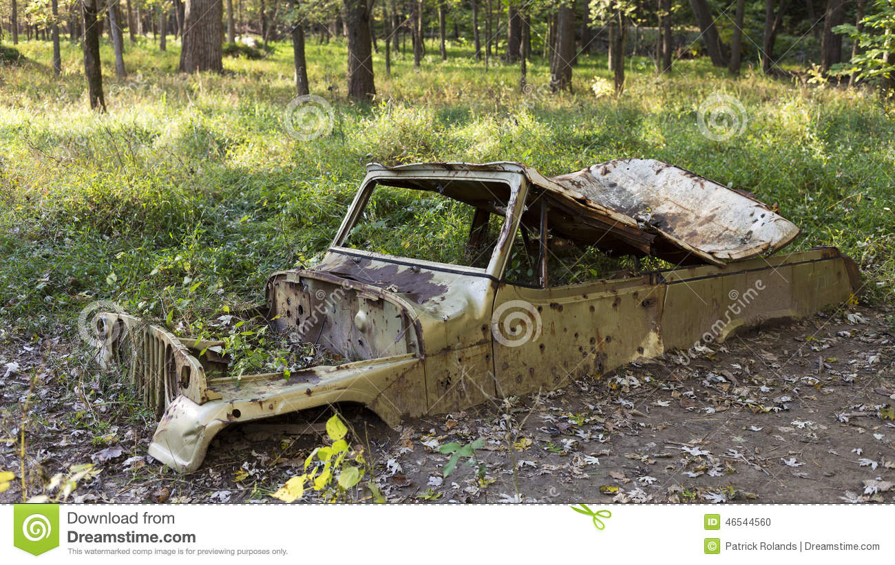 Abandonded Car In Woods Stock Photo Image Of Automobile 46544560