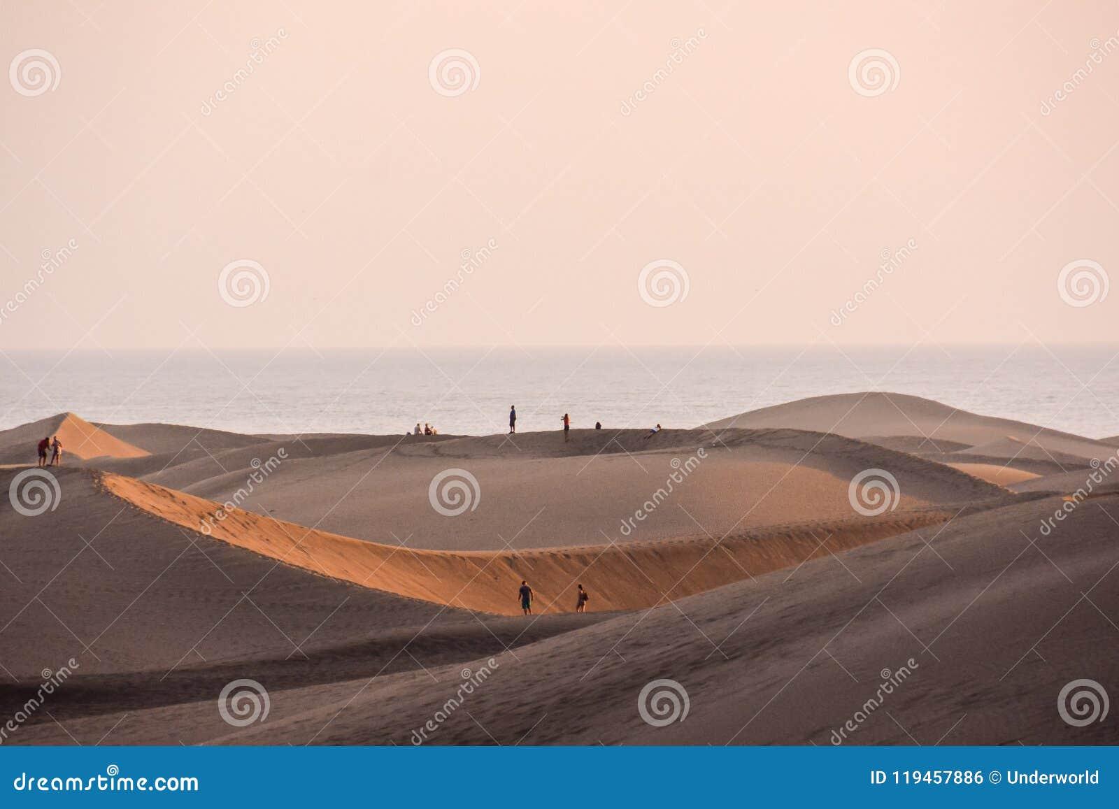 Abandone con las dunas de arena en Gran Canaria España