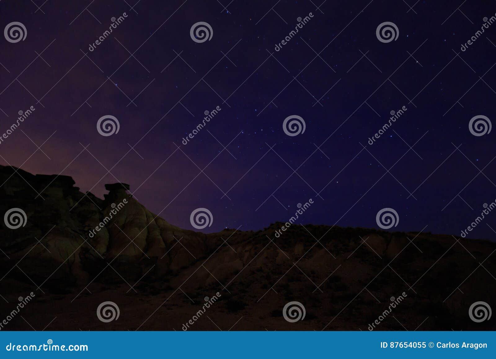Abandone El Paisaje En La Noche En Bardenas Reales De Navarra
