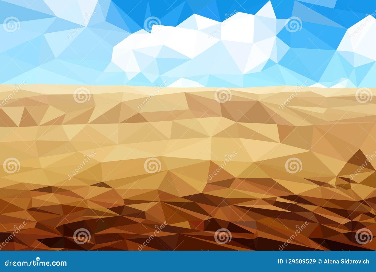 Abandone la arena contra un cielo nublado, mosaico multicolor, triangula