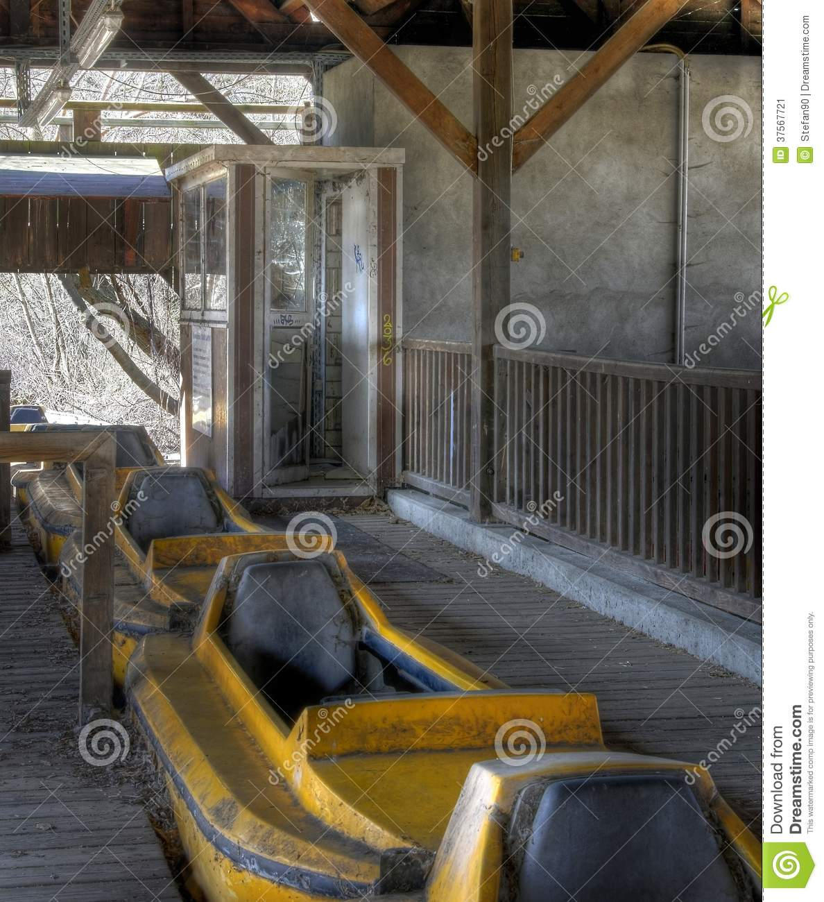 Abandoned Amusement Park Stock Image. Image Of Lost, Blue