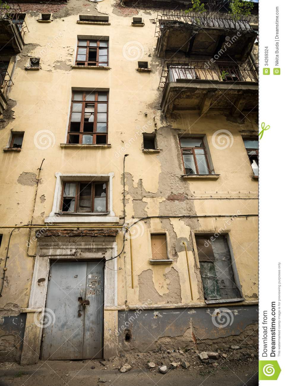 abandoned apartment building stock images