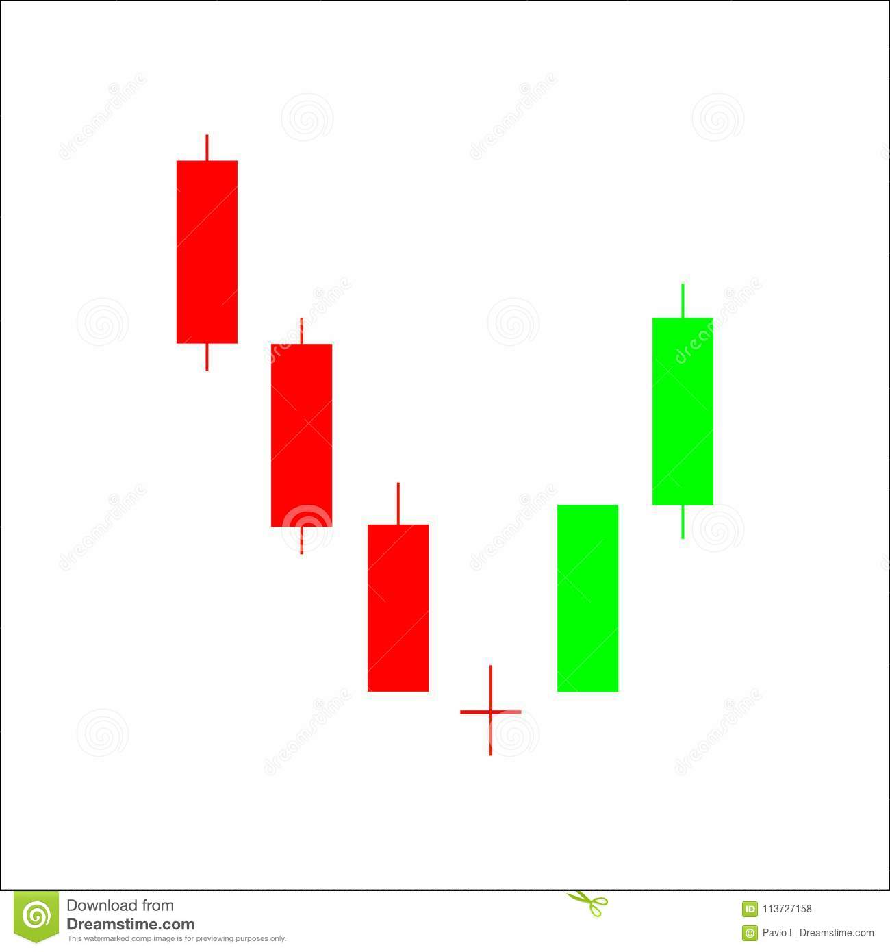 Abandoned Baby Candlestick Chart Pattern. Set Of Candle