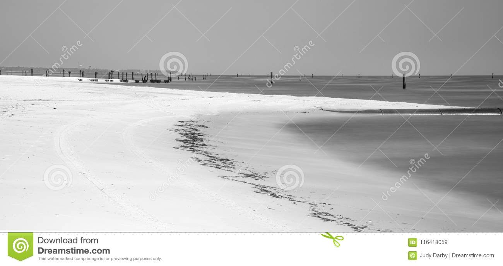 Abandoned beach at Waveland, Mississippi