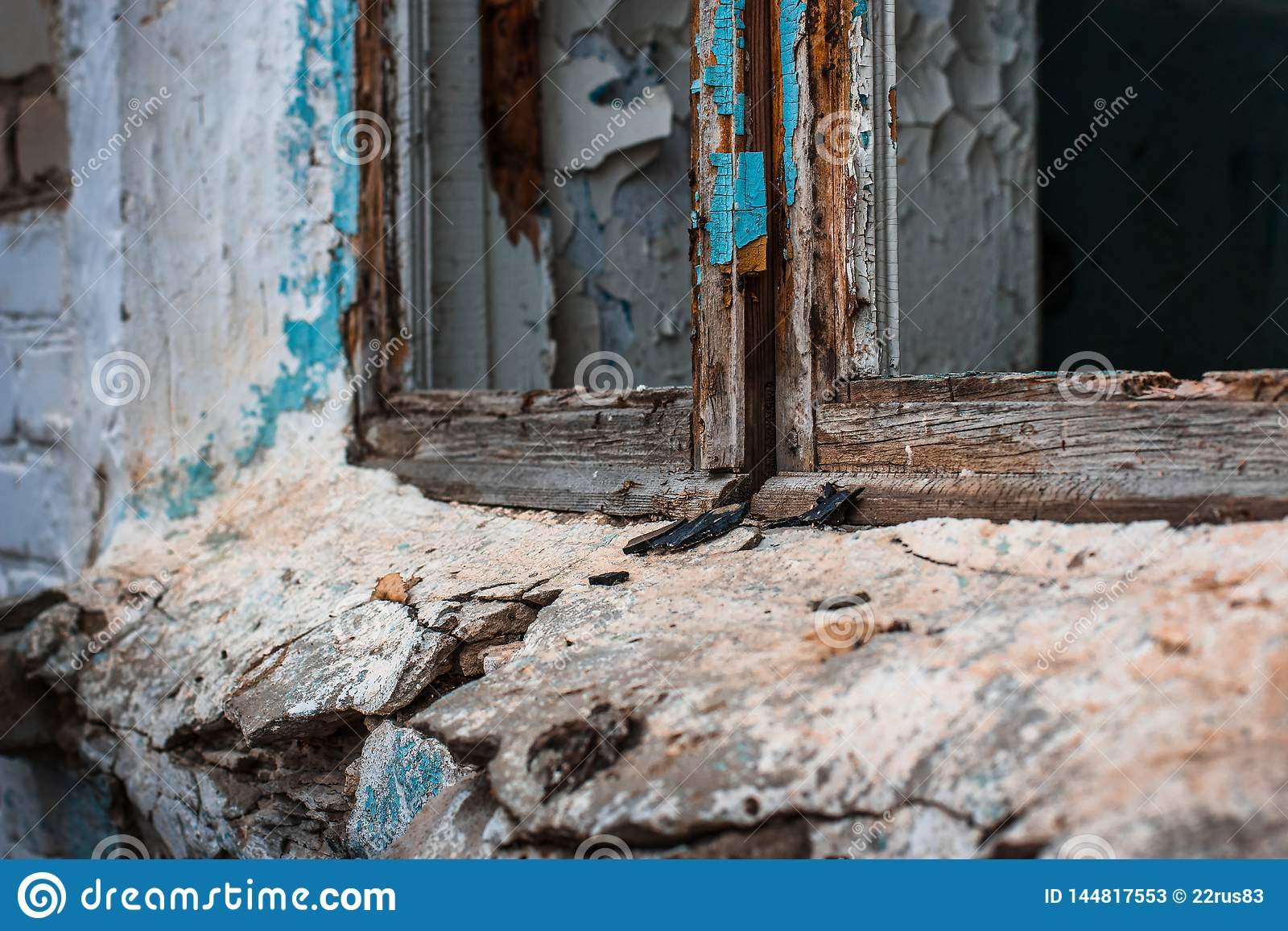 Abandoned Building After The Fighting Wooden Frame Without Glass And Window Sill Of A Destroyed And Old House Stock Image Image Of Nobody Peeling 144817553