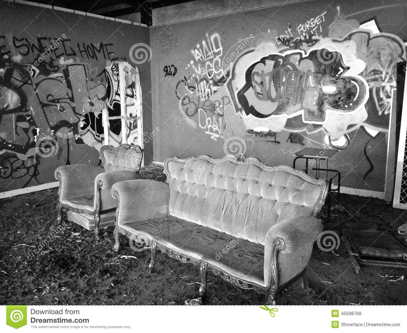 Abandoned Building Showing Illicit Graffiti And Vandalism Willful Damage Throughout