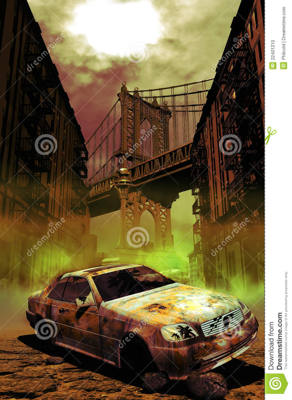 Abandoned Car In Manhattan Stock Photo