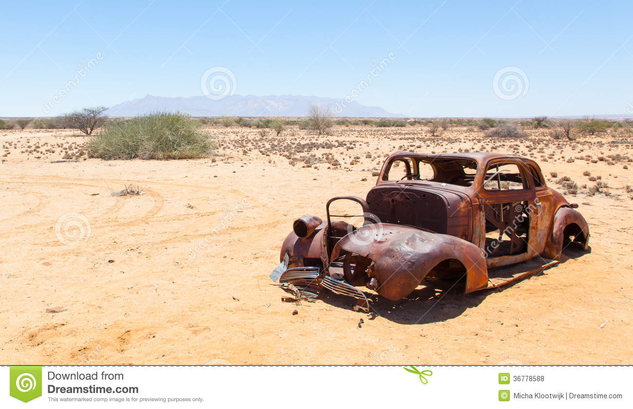 Abandoned Car In The Namib Desert Royalty Free Stock